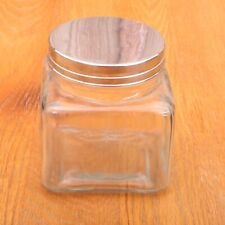 Clear Glass Canister Embossed Apple With Metal Lid