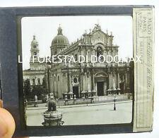 FOTO ANTICA LANTERNA MAGICA catania cattedrale 1870c