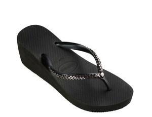 NEW Havaianas Women's Black Metal Chain Rubber Wedge Flip Flops (Size 11-12)