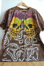Ed Hardy Men's XXL 2X T-Shirt Brown Two Large Skulls SNAKES Pink Mohawks