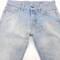 Replay JENNON Mens Jeans W29 L31 Light Blue Slim Fit Straight Mid Rise