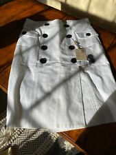 Womens Burberry Skirt White Black Button 4 NWT Tailored Lined Cotton Fitted