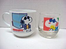 LOT 2 SNOOPY Joe Cool mugs glass DENZ United Feature Syndicate