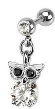 with Cz Owl Dangle [Jewelry] 316L Surgical Steel Tragus/Cartilage Barbell