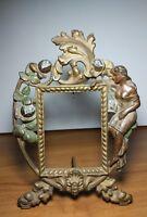 Antique Art Nouveau Rococo Cast Iron Frame Lady & Flowers