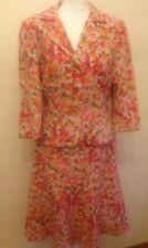 BODEN 10R 2p VTG Style Suit (Skirt+Jacket) Floral Pink,Red+Orange, Linen Bl, VGC