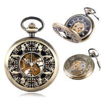 Steampunk Men Skeleton Mechanical Craved Fish Pendant Pocket Watch Bronze Chain