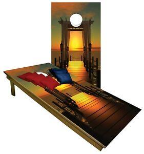 CORNHOLE BEANBAG TOSS GAME w Bags Game Board Boardwalk Ocean Sunset  Set