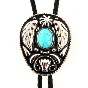 Turquoise Angel`s Wing Bolo Tie Wedding Necklace Leather Rope Western Cowboy