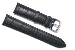18 20 22 24mm Black Crocodile Grain Leather Unisex Watch Band Silver Tone Buckle