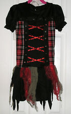 Halloween Costume Girls M 8/10, Edgy Red Riding Hood, Red Plaid Corset Dress