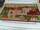 Vintage Wool Woven Rug Hand Loom South American  People Church Houses Scene
