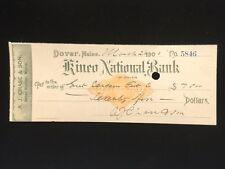 U.S: USED CHECK #RNX7 1900 KINEO NATIONA BANK DOVER ME A.J. CHASE & SON