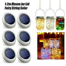 1-3x Mason Jar Lid Fairy String Solar Powered LED Lights Lamp Garden Party Decor