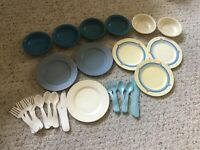Fisher Price Fun With Food Dishes ~ Plates, Bowls, Utensils Lot Of 27
