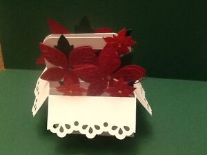 Handmade Christmas pop up card Poinsettia in a basket. Can be personalised
