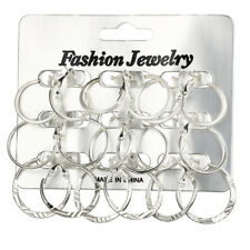 9pairs Earrings Big Round Ear Studs Circle Hoop Drop Dangle Earrings*jewelry*v* Gold