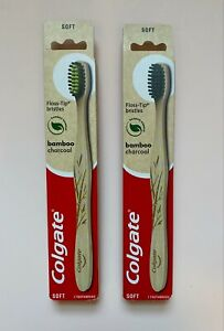 NEW Pack of 2 Colgate Bamboo Charcoal Toothbrushes Floss-Tip Soft Bristles NWB
