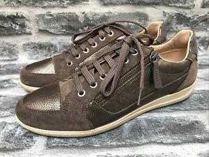 GEOX LADIES BROWN SUEDE BRONZE TRAINER SHOES SIZE 8 UK NARROW FIT