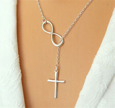 Jewelry Casual Personality Infinity Cross Lariat Pendant Silver Plated Necklace