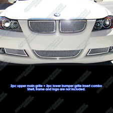 Fits 2006-2007 BMW 3-Series E90 Sedan Stainless Steel Mesh Grille Combo