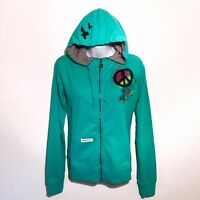Maui and Sons Womens Zip Up Hoodie Jacket Size M L XL Teal Pullover Juniors NEW