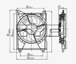 99-06 Sonata XG300/XG350 Optima  Condenser Cooling Fan