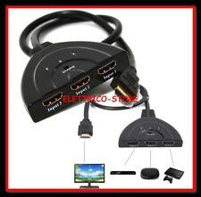 CAVO SWITCH HDMI 1080p 3 PORTE FULL HD TV PRESA MULTIPLA SDOPPIATORE ADATTATORE
