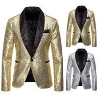 Herren Jacke Blazer Suit Anzug Sequins Tops Party Nachtclub Bomberjacke tops L/P
