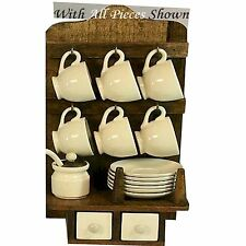 Rustic Wooden Rack with Cups and Saucers STC781016