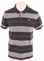 LACOSTE Mens Polo Shirt Size 7 XL Black Striped Cotton Slim Fit  KB03