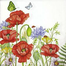 3 x Single SMALL Paper Napkins For Decoupage Craft Tissue Poppies Flowers S044