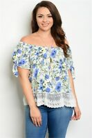 WOMENS PLUS SIZE IVORY & BLUE TUNIC TOP WITH LACE DETAIL AND NECKLACE 1X NEW