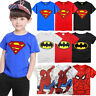Kids Baby Boys Batman Superman Spiderman Casual Short Sleeve T-shirt Tops Shirts