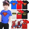 Kinder Jungen Batman Superman Spider-man T-Shirt Tops Kurzarm Tshirt Sommer Tees