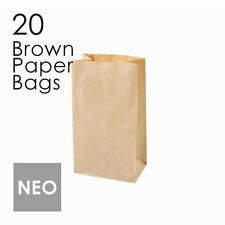 20 Small Brown Paper Gift Bags 15x26.5x9 Kraft Kids Party Favours Loot shopping