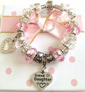 Luxury pink charm bracelet in gift box for wedding family gifts