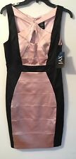Gorgeous JAX Satin Multicolor pink Black sleeveless knee length sheath dress 10