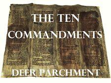 TORAH SCROLL BIBLE VELLUM MANUSCRIPT FRAGMENT 200 YRS MOROCCO - Ten Commandments