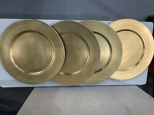 "BELK SET OF 4 ACRYLIC CHARGER PLATES 13"" GOLD COLOR - OPEN BOX"