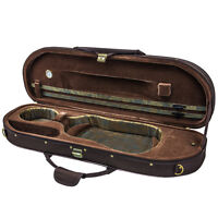 NEW Halfmoon Deluxe 4/4 Size Acoustic Violin Fiddle Case Coffee/Brown w/ Strap