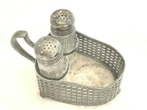 Salt Pepper Shakers With Decorative Silver Plate Caddy Tarnished Knickerbocker