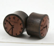 Sono Wood Time Clock Ear Plugs Gauges Hand Made Carved Crafted 00g - 3/4g Pair