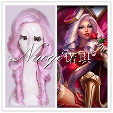 55cm Long Pink Wavy Heartseeker Ashe Skin LOL Cosplay Full Wig Cos Wigs