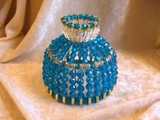 BEADED SHADE FOR WINDOW TABLE NIGHT LIGHT ELECTRIC CANDLE  PEACOCK