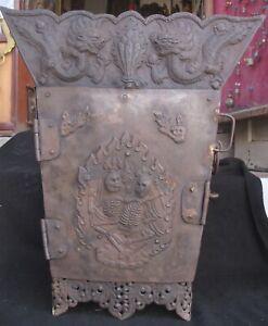 Antique Tibetan Tantrik Chitipati Shri Shmashana Adhipati Altar Chest Box Nepal
