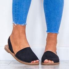 Womens Summer Beach Casual Shoes Slingbacks Flats Peep Toe Sandals Espadrilles