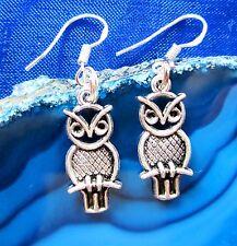 Ohrhänger Ohrring Eule 30 Haken aus Silber 925 dangle earring owl chouette