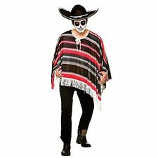 Adult Mens Day of the Dead Bandit Poncho Fancy Dress (Men: One Size)