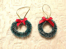 Green Christmas Wreath Tree Ornaments Mini Bottlebrush Dollhouse Sisal Red Bow
